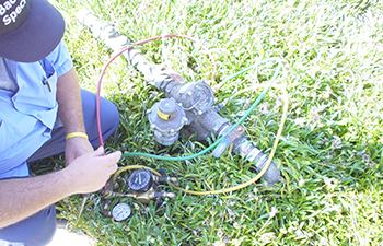 Backflow device being installed