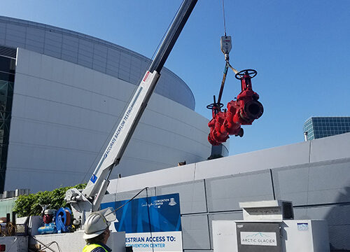 Backflow pipe on a crane
